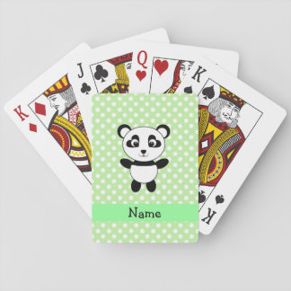 Personalized name panda green polka dots deck of cards