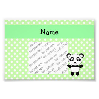 Personalized name panda green polka dots photo art