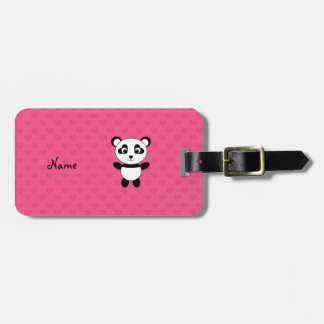 Personalized name panda pink hearts luggage tags