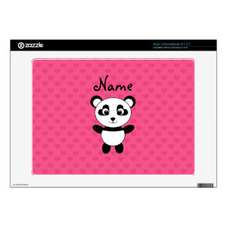 Personalized name panda pink hearts acer chromebook decal