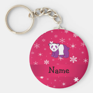 Personalized name panda pink snowflakes keychains
