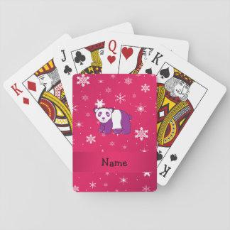 Personalized name panda pink snowflakes card decks