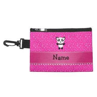 Personalized name panda pink stars accessory bag