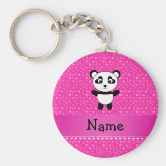 Personalized name panda pink stars basic round button keychain