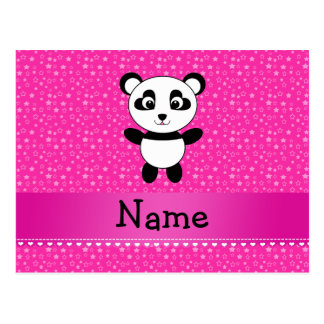 Personalized name panda pink stars postcard