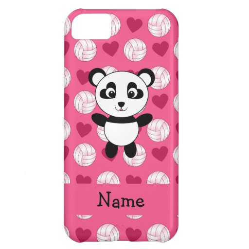 Personalized name panda pink volleyball hearts iPhone 5C covers