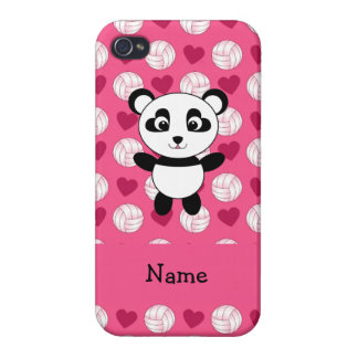 Personalized name panda pink volleyball hearts iPhone 4/4S cases