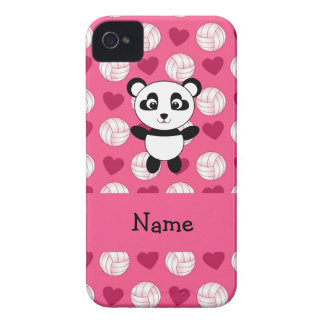 Personalized name panda pink volleyball hearts iPhone 4 Case-Mate cases