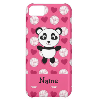 Personalized name panda pink volleyball hearts iPhone 5C case