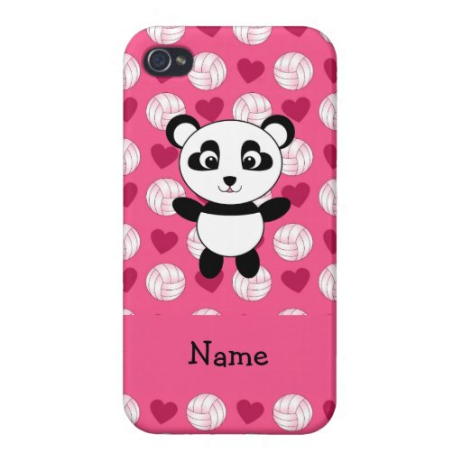 Personalized name panda pink volleyball hearts cases for iPhone 4