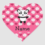 Personalized name panda pink volleyball hearts heart sticker