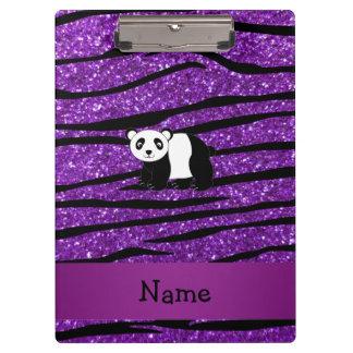 Personalized name panda purple glitter zebra clipboards