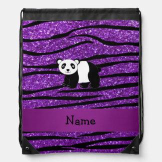 Personalized name panda purple glitter zebra drawstring backpack