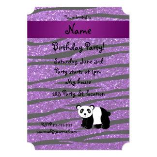 Personalized name panda purple glitter zebra 5x7 paper invitation card
