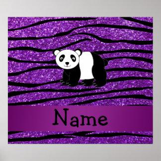 Personalized name panda purple glitter zebra poster