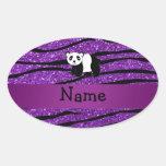 Personalized name panda purple glitter zebra oval sticker