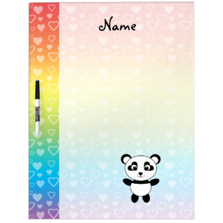 Personalized name panda rainbow hearts Dry-Erase boards