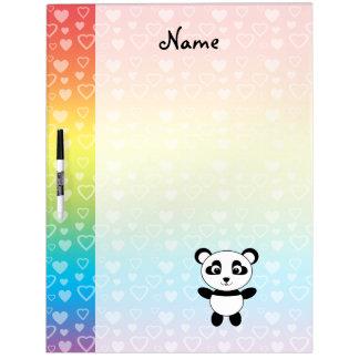 Personalized name panda rainbow hearts Dry-Erase whiteboard