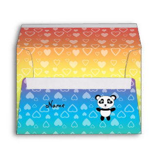 Personalized name panda rainbow hearts envelope