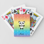 Personalized name panda rainbow hearts poker deck