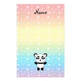 Personalized name panda rainbow hearts stationery paper