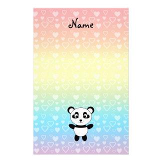 Personalized name panda rainbow hearts stationery