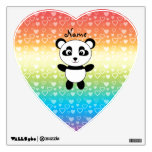 Personalized name panda rainbow hearts wall decals