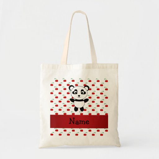 Personalized name panda red cherries budget tote bag