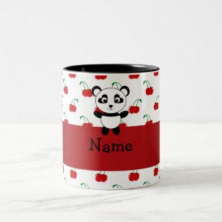 Personalized name panda red cherries mugs