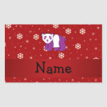Personalized name panda red snowflakes rectangular sticker
