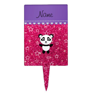 Personalized name panda rose pink glitter stars cake topper