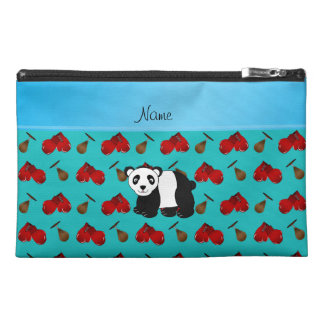 Personalized name panda turquoise boxing gloves travel accessory bags