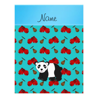 Personalized name panda turquoise boxing gloves flyer design