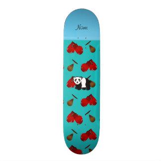 Personalized name panda turquoise boxing gloves skateboard decks