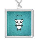 Personalized name panda turquoise glitter jewelry
