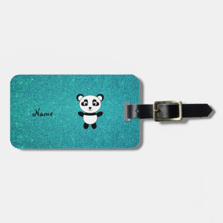 Personalized name panda turquoise glitter bag tags