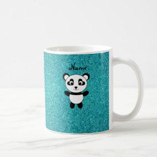 Personalized name panda turquoise glitter mug