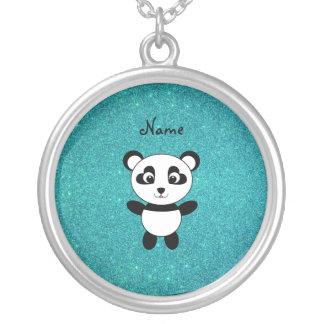 Personalized name panda turquoise glitter custom necklace