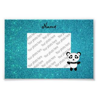 Personalized name panda turquoise glitter photo