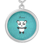 Personalized name panda turquoise glitter round pendant necklace