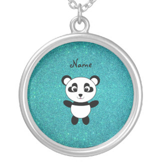 Personalized name panda turquoise glitter silver plated necklace