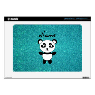 Personalized name panda turquoise glitter samsung chromebook skins