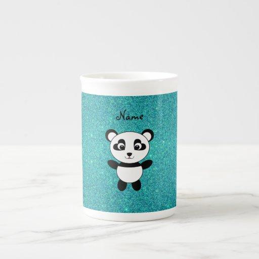 Personalized name panda turquoise glitter bone china mug