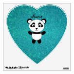 Personalized name panda turquoise glitter wall graphic
