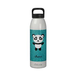 Personalized name panda turquoise glitter water bottle