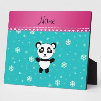 Personalized name panda turquoise snowflakes plaque
