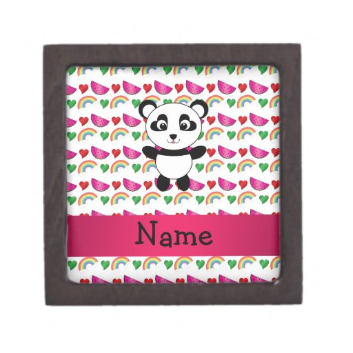 Personalized name panda watermelons hearts rainbow premium trinket box