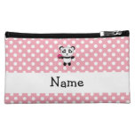Personalized name panda with cupcake polka dots cosmetics bags