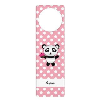 Personalized name panda with cupcake polka dots door hangers