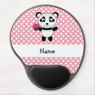 Personalized name panda with cupcake polka dots gel mousepads